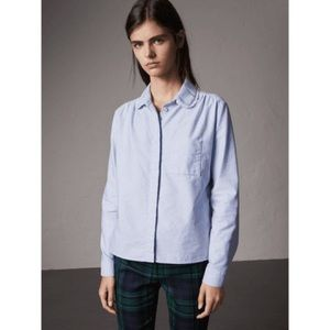 Burberry lace trim collar button down shirt